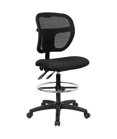 Flash Furniture Mid-Back Drafting Chair WL-A7671SYG-BK-D-GG