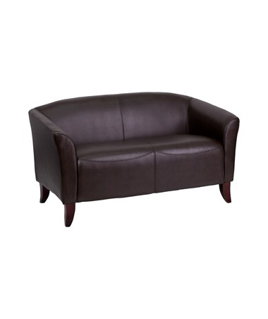 HERCULES Imperial Series Brown Leather Love Seat [111-2-BN-GG] FLF111-2-BN-GG