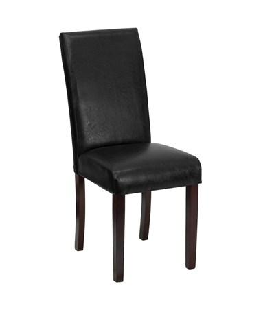 Black Leather Upholstered Parsons Chair [BT-350-BK-LEA-023-GG] FLFBT-350-BK-LEA-023-GG