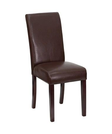 Dark Brown Leather Upholstered Parsons Chair [BT-350-BRN-LEA-008-GG] FLFBT-350-BRN-LEA-008-GG