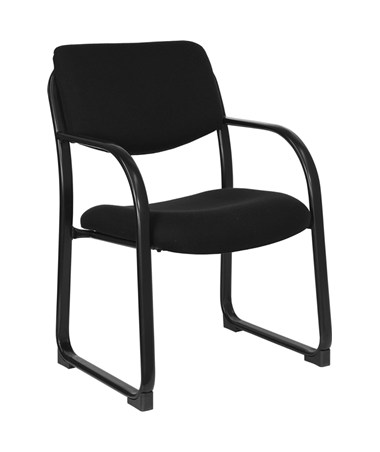 Black Fabric Executive Side Chair with Sled Base [BT-508-BK-GG] FLFBT-508-BK-GG