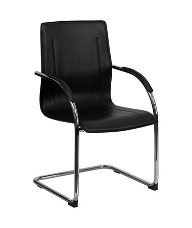 Black Vinyl Side Chair with Chrome Sled Base [BT-509-BK-GG] FLFBT-509-BK-GG