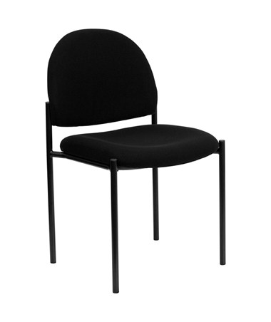 Black Fabric Comfortable Stackable Steel Side Chair [BT-515-1-BK-GG] FLFBT-515-1-BK-GG