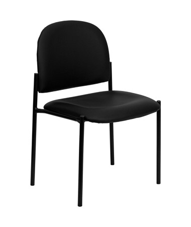 Black Vinyl Comfortable Stackable Steel Side Chair [BT-515-1-VINYL-GG] FLFBT-515-1-VINYL-GG