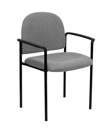 Gray Fabric Comfortable Stackable Steel Side Chair with Arms [BT-516-1-GY-GG] FLFBT-516-1-GY-GG