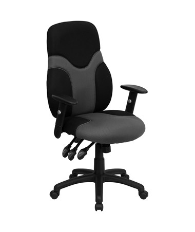 High Back Ergonomic Black and Gray Mesh Task Chair with Adjustable Arms [BT-6001-GYBK-GG] FLFBT-6001-GYBK-GG