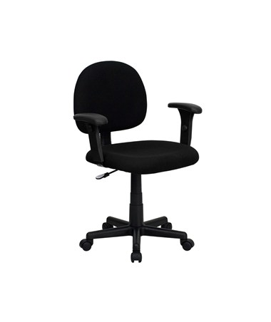 Mid-Back Ergonomic Black Fabric Task Chair with Adjustable Arms [BT-660-1-BK-GG] FLFBT-660-1-BK-GG