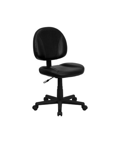 Mid-Back Black Leather Ergonomic Task Chair [BT-688-BK-GG] FLFBT-688-BK-GG