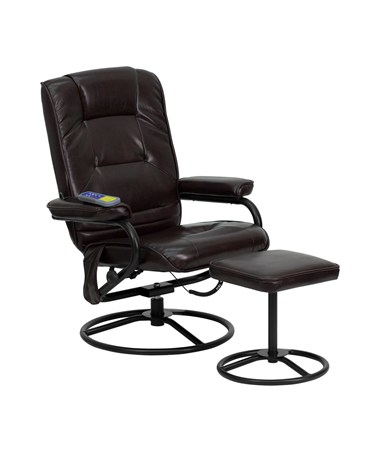 Massaging Brown Leather Recliner and Ottoman with Metal Bases [BT-703-MASS-BN-GG] FLFBT-703-MASS-BN-GG