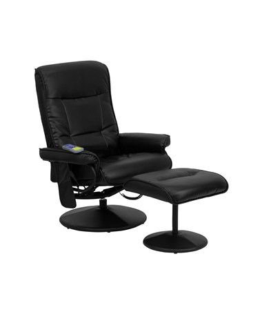 Massaging Black Leather Recliner and Ottoman with Leather Wrapped Base [BT-7320-MASS-BK-GG] FLFBT-7320-MASS-BK-GG