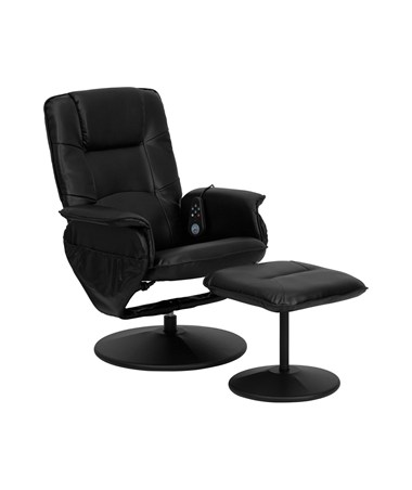 Massaging Black Leather Recliner and Ottoman with Leather Wrapped Base [BT-753P-MASSAGE-BK-GG] FLFBT-753P-MASSAGE-BK-GG