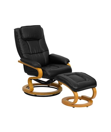 Contemporary Black Leather Recliner and Ottoman with Swiveling Maple Wood Base [BT-7615-BK-CURV-GG] FLFBT-7615-BK-CURV-GG