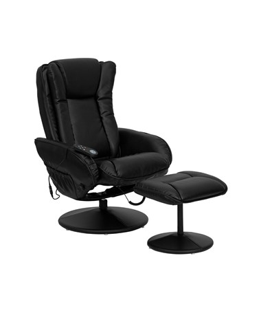 Massaging Black Leather Recliner and Ottoman with Leather Wrapped Base [BT-7672-MASSAGE-BK-GG] FLFBT-7672-MASSAGE-BK-GG