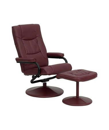 Contemporary Burgundy Leather Recliner and Ottoman with Leather Wrapped Base [BT-7862-BURG-GG] FLFBT-7862-BURG-GG
