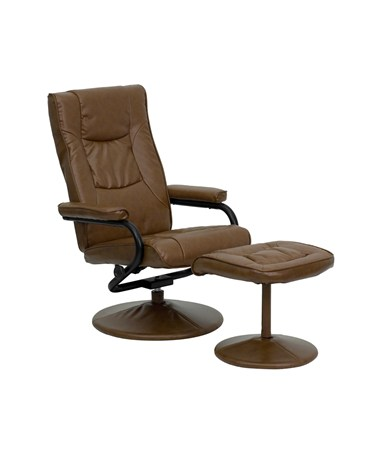 Contemporary Palimino Leather Recliner and Ottoman with Leather Wrapped Base [BT-7862-PALIMINO-GG] FLFBT-7862-PALIMINO-GG