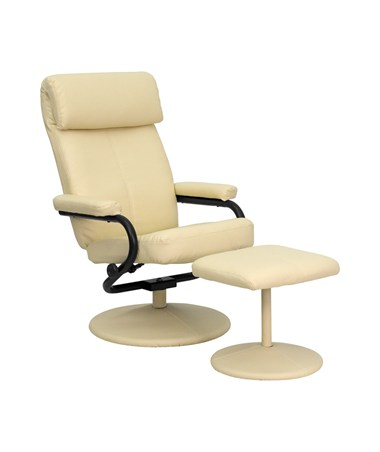 Contemporary Cream Leather Recliner and Ottoman with Leather Wrapped Base [BT-7863-CREAM-GG] FLFBT-7863-CREAM-GG