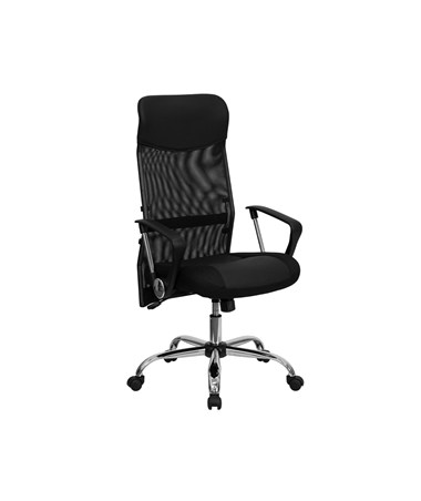 High Back Black Split Leather Chair with Mesh Back [BT-905-GG] FLFBT-905-GG