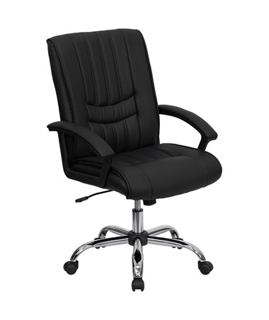 Mid-Back Black Leather Manager's Chair [BT-9076-BK-GG] FLFBT-9076-BK-GG