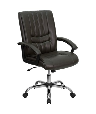 Mid-Back Espresso Brown Leather Manager's Chair [BT-9076-BRN-GG] FLFBT-9076-BRN-GG