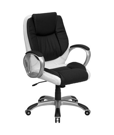 Mid-Back Black and White Leather Executive Swivel Office Chair [CH-CX0217M-GG] FLFCH-CX0217M-GG
