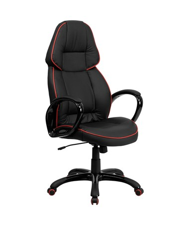 High Back Black Vinyl Executive Office Chair with Red Pipeline Border [CH-CX0248H01-VEN-GG] FLFCH-CX0248H01-VEN-GG