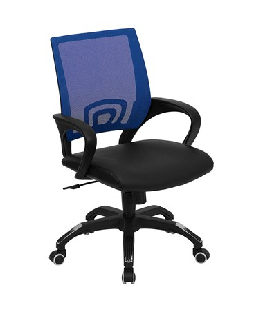 Mid-Back Blue Mesh Computer Chair with Black Leather Seat [CP-B176A01-BLUE-GG] FLFCP-B176A01-BLUE-GG