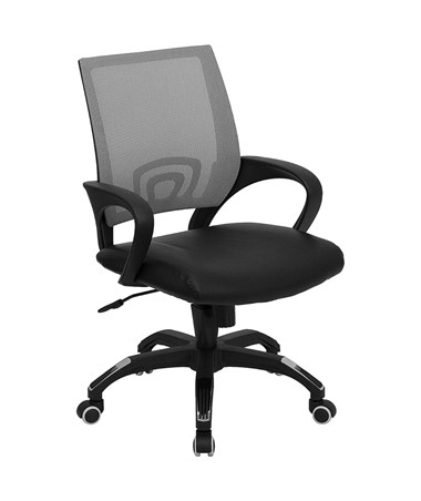 Mid-Back Gray Mesh Computer Chair with Black Leather Seat [CP-B176A01-GRAY-GG] FLFCP-B176A01-GRAY-GG