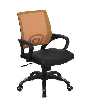 Mid-Back Orange Mesh Computer Chair with Black Leather Seat [CP-B176A01-ORANGE-GG] FLFCP-B176A01-ORANGE-GG