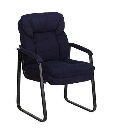 Navy Microfiber Executive Side Chair with Sled Base [GO-1156-NVY-GG] FLFGO-1156-NVY-GG