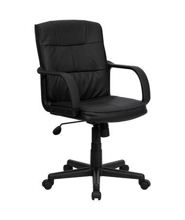 Mid-Back Black Leather Office Chair with Nylon Arms [GO-228S-BK-LEA-GG] FLFGO-228S-BK-LEA-GG