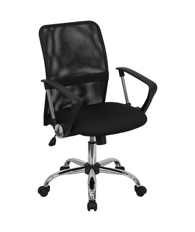 Mid-Back Black Mesh Computer Chair with Chrome Finished Base [GO-6057-GG] FLFGO-6057-GG