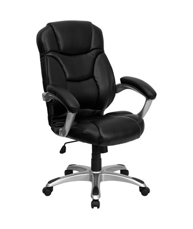 High Back Black Leather Contemporary Office Chair [GO-725-BK-LEA-GG] FLFGO-725-BK-LEA-GG