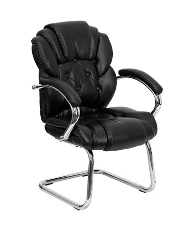 Black Leather Transitional Side Chair with Padded Arms and Sled Base [GO-908V-BK-SIDE-GG] FLFGO-908V-BK-SIDE-GG