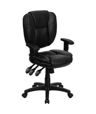 Mid-Back Black Leather Multi-Functional Ergonomic Task Chair with Arms [GO-930F-BK-LEA-ARMS-GG] FLFGO-930F-BK-LEA-ARMS-GG