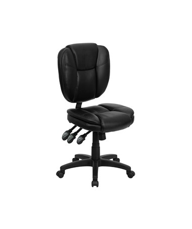 Mid-Back Black Leather Multi-Functional Ergonomic Task Chair [GO-930F-BK-LEA-GG] FLFGO-930F-BK-LEA-GG