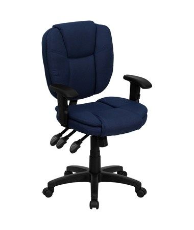 Mid-Back Navy Blue Fabric Multi-Functional Ergonomic Task Chair with Arms [GO-930F-NVY-ARMS-GG] FLFGO-930F-NVY-ARMS-GG