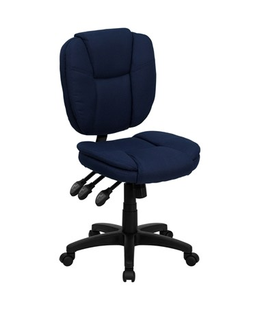 Mid-Back Navy Blue Fabric Multi-Functional Ergonomic Task Chair [GO-930F-NVY-GG] FLFGO-930F-NVY-GG