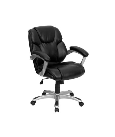 Mid-Back Black Leather Office Task Chair [GO-931H-MID-BK-GG] FLFGO-931H-MID-BK-GG
