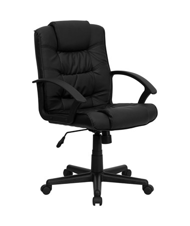 Mid-Back Black Leather Office Chair [GO-937M-BK-LEA-GG] FLFGO-937M-BK-LEA-GG