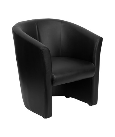 Black Leather Barrel-Shaped Guest Chair [GO-S-01-BK-QTR-GG] FLFGO-S-01-BK-QTR-GG