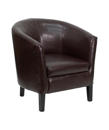 Brown Leather Barrel Shaped Guest Chair [GO-S-11-BN-BARREL-GG] FLFGO-S-11-BN-BARREL-GG