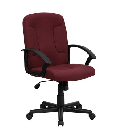 Mid-Back Burgundy Fabric Task and Computer Chair with Nylon Arms [GO-ST-6-BY-GG] FLFGO-ST-6-BY-GG