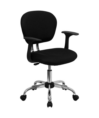 Mid-Back Black Mesh Task Chair with Arms and Chrome Base [H-2376-F-BK-ARMS-GG] FLFH-2376-F-BK-ARMS-GG