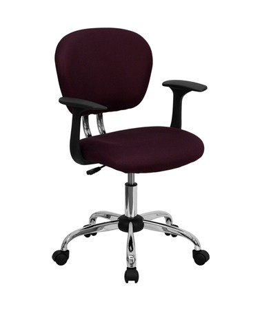 Mid-Back Burgundy Mesh Task Chair with Arms and Chrome Base [H-2376-F-BY-ARMS-GG] FLFH-2376-F-BY-ARMS-GG