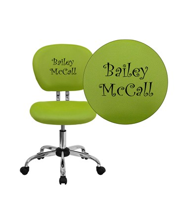 Embroidered Mid-Back Apple Green Mesh Task Chair with Chrome Base [H-2376-F-GN-EMB-GG] FLFH-2376-F-GN-EMB-GG