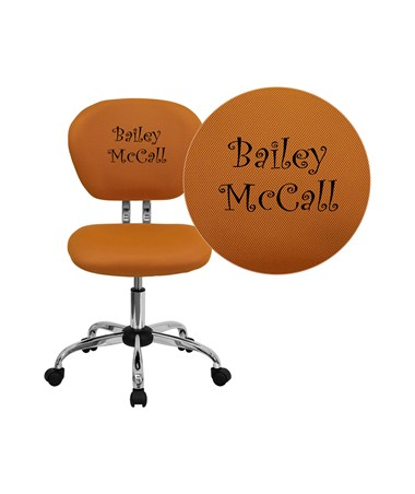Embroidered Mid-Back Orange Mesh Task Chair with Chrome Base [H-2376-F-ORG-EMB-GG] FLFH-2376-F-ORG-EMB-GG