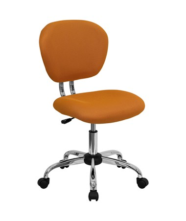 Mid-Back Orange Mesh Task Chair with Chrome Base [H-2376-F-ORG-GG] FLFH-2376-F-ORG-GG