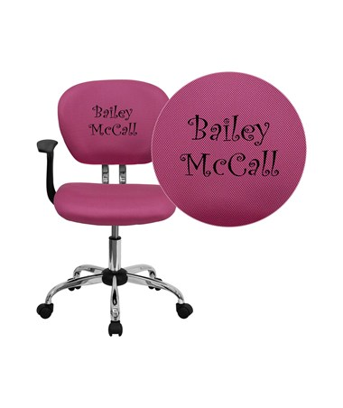 Embroidered Mid-Back Pink Mesh Task Chair with Arms and Chrome Base [H-2376-F-PINK-ARMS-EMB-GG] FLFH-2376-F-PINK-ARMS-EMB-GG