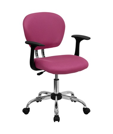 Mid-Back Pink Mesh Task Chair with Arms and Chrome Base [H-2376-F-PINK-ARMS-GG] FLFH-2376-F-PINK-ARMS-GG