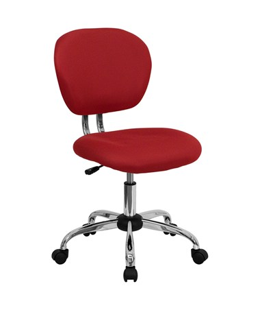 Mid-Back Red Mesh Task Chair with Chrome Base [H-2376-F-RED-GG] FLFH-2376-F-RED-GG